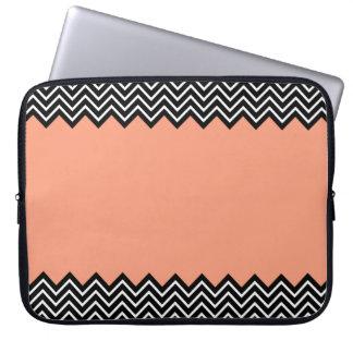 Coral Color Block Chevron Laptop Sleeve