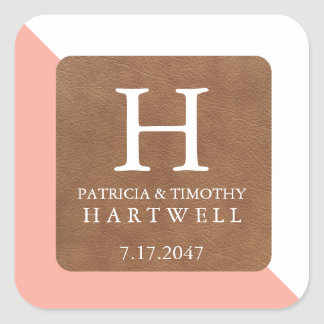 Coral Color Split Faux Leather Patch Wedding Square Sticker