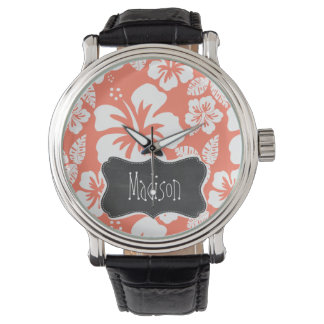 Coral Color Tropical Hibiscus; Retro Chalkboard Wrist Watches