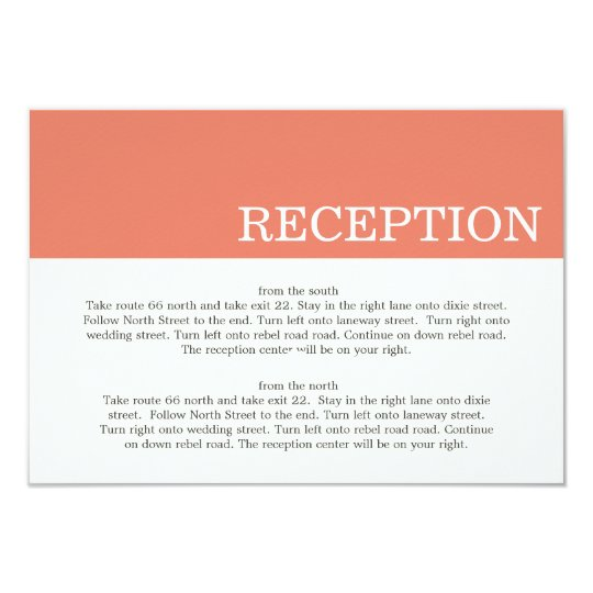 Coral Colour Block Wedding Direction Cards