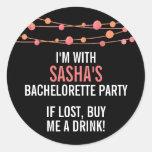 Coral Confetti Personalised Bachelorette Party Round Sticker