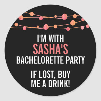 Coral Confetti Personalized Bachelorette Party Classic Round Sticker