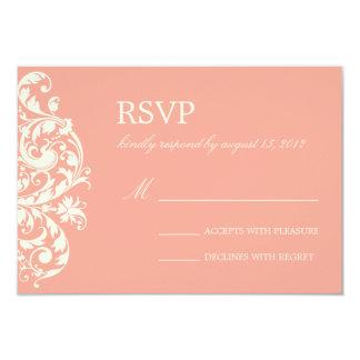 CORAL & CREAM FLOURISH | WEDDING RSVP 9 CM X 13 CM INVITATION CARD