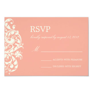 CORAL & CREAM FLOURISH | WEDDING RSVP CARD