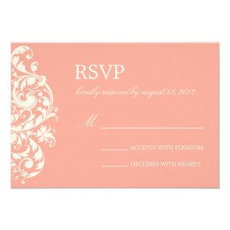 CORAL CREAM FLOURISH WEDDING RSVP INVITATIONS