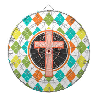Coral Cross on Colorful Argyle Pattern Dartboards