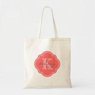 Coral Custom Personalized Monogram Budget Tote Bag