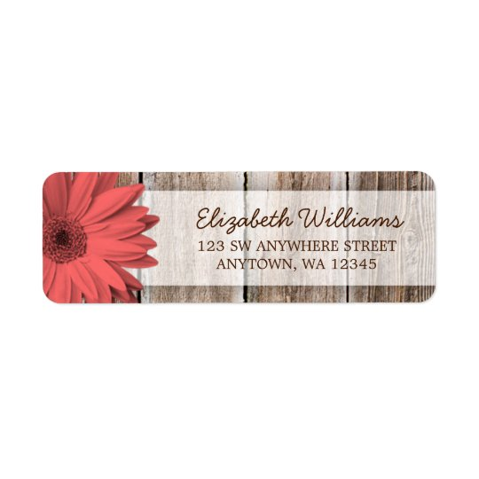 Coral Daisy Rustic Barn Wood Return Address Label