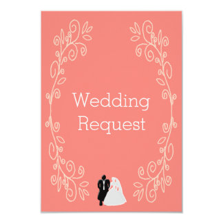 Coral Damask Maid Of Honour Request Card