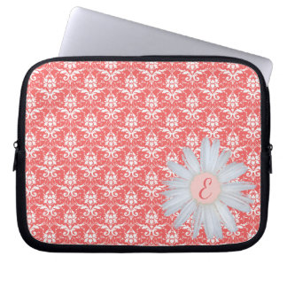 Coral Damask Pattern   Daisy Monogrammed Initial Laptop Sleeve