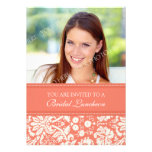 Coral Damask Photo Bridal Luncheon Invitation Card
