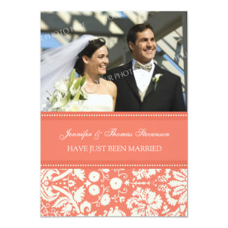 Coral Damask Photo Just Married Announcement Cards