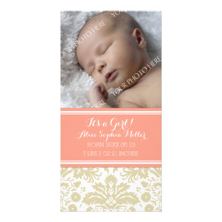 Coral Damask Photo New Baby Birth Announcement Custom Photo Card