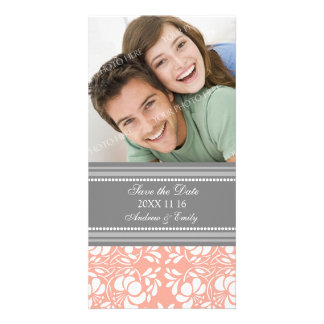 Coral Damask Save the Date Wedding Photo Cards