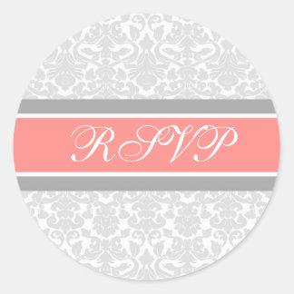 Coral Damask Wedding RSVP Envelope Seals Round Sticker