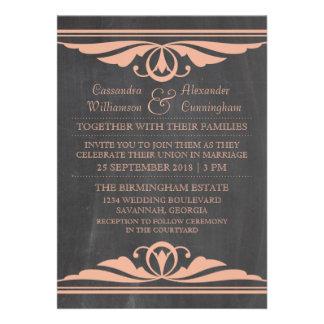 Coral Deco Chalkboard Wedding Invite