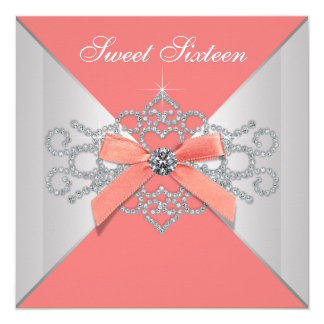 Coral Diamonds and Coral Birthday Party 5.25x5.25 Square Paper Invitation Card