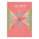 Coral Diamonds Coral Gold Birthday Party RSVP Personalised Invitations