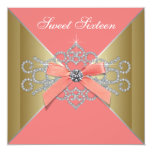Coral Diamonds Coral Gold Sweet 16 Birthday Party 13 Cm X 13 Cm Square Invitation Card