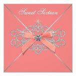 Coral Diamonds Coral Sweet 16 Birthday Party 13 Cm X 13 Cm Square Invitation Card