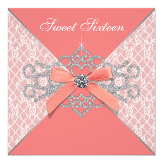 Coral Diamonds Coral Sweet 16 Birthday Party 13 Cm X 13 Cm Square Invitation Card