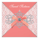 Coral Diamonds Coral Sweet 16 Birthday Party Custom Invite