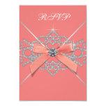 Coral Diamonds Coral Sweet 16 Birthday Party RSVP 9 Cm X 13 Cm Invitation Card