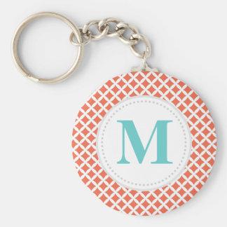 Coral Diamonds Custom Monogram Key Ring