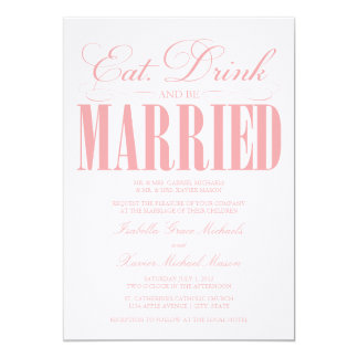 Coral Eat, Drink & Be Married   Wedding Invitation