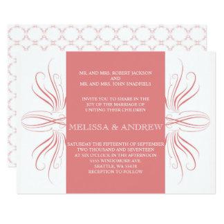 Coral Elegant Curves Wedding inviation Card