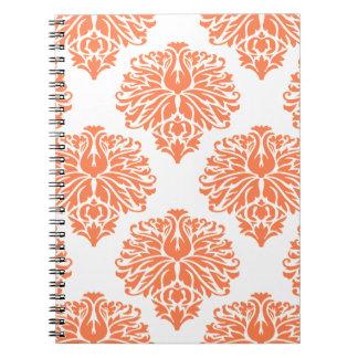 Coral Elegant Damask Note Books