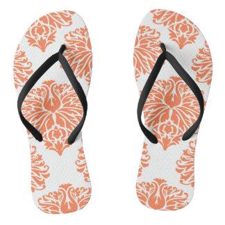 Coral Elegant Damask Thongs