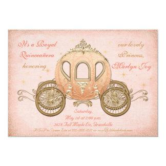 Coral Fairytale Princess Quinceanera Invitations