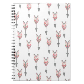 Coral falling arrows spiral note book