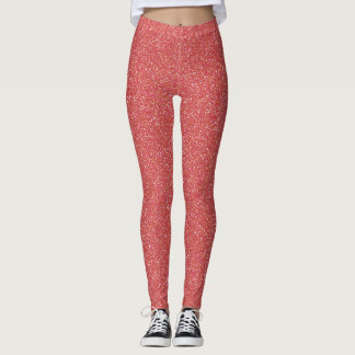 Coral Faux Glitter Leggings