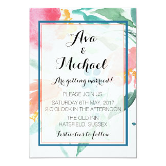 Coral Floral Arrangement Watercolour Invitation