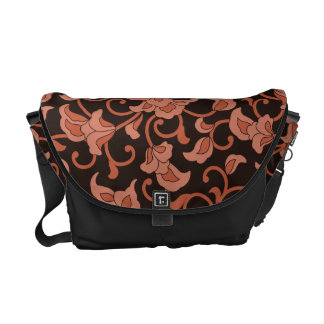 Coral Floral Messenger Bags