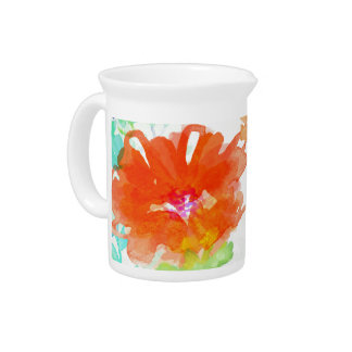 Coral Floral Pitcher
