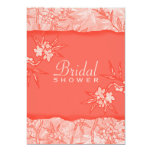 "Coral Flowers in Bloom 5"" X 7"" Invitation Card"
