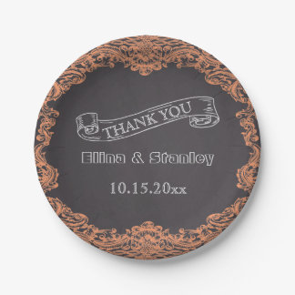 Coral frame and chalkboard wedding Thank You 7 Inch Paper Plate