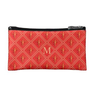Coral French Fleur de Lis Diamond Pattern Monogram Cosmetic Bag