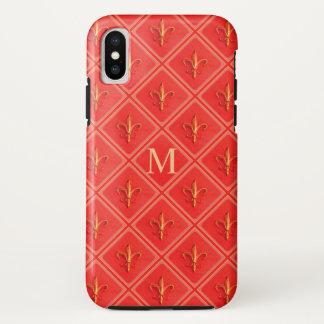 Coral French Fleur de Lis Diamond Pattern Monogram iPhone X Case