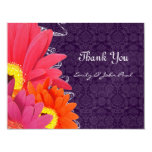 Coral Fuchsia Eggplant Gerber Daisy Thank You Card Personalised Invitations
