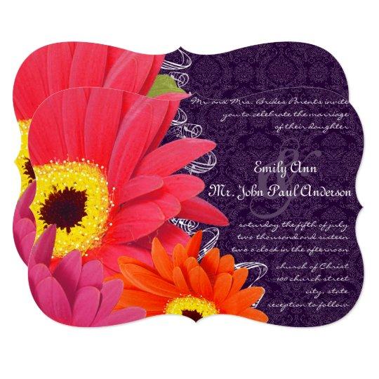 Coral Fuchsia Eggplant Gerber Daisy Wedding 13 Cm X 18 Cm Invitation Card