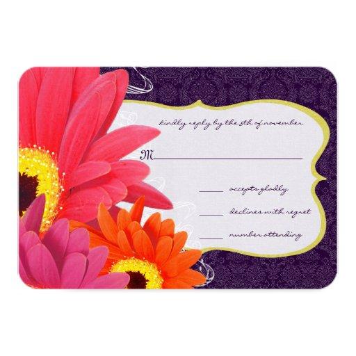 Coral Fuchsia Eggplant Gerber Daisy Wedding 9 Cm X 13 Cm Invitation Card