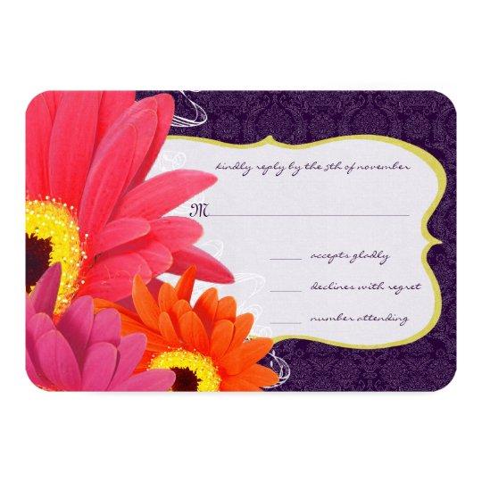 Coral Fuchsia Eggplant Gerber Daisy Wedding Card
