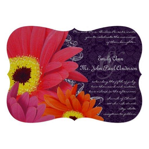 Coral Fuchsia Eggplant Gerber Daisy Wedding Custom Invite