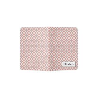 coral geometric pattern passport holder