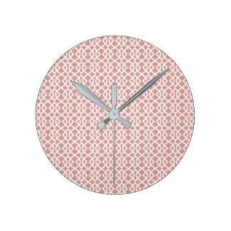 coral geometric pattern round clock