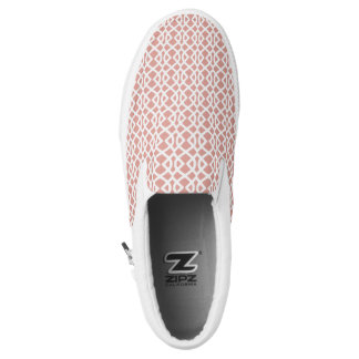 coral geometric pattern slip on shoes